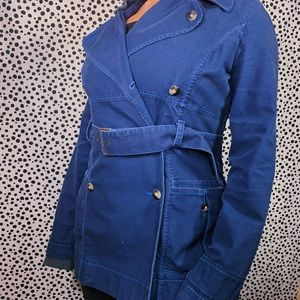Free People Navy Belted Button Trench Coat Size 12